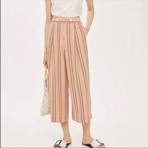Topshop High Waist Striped Culottes